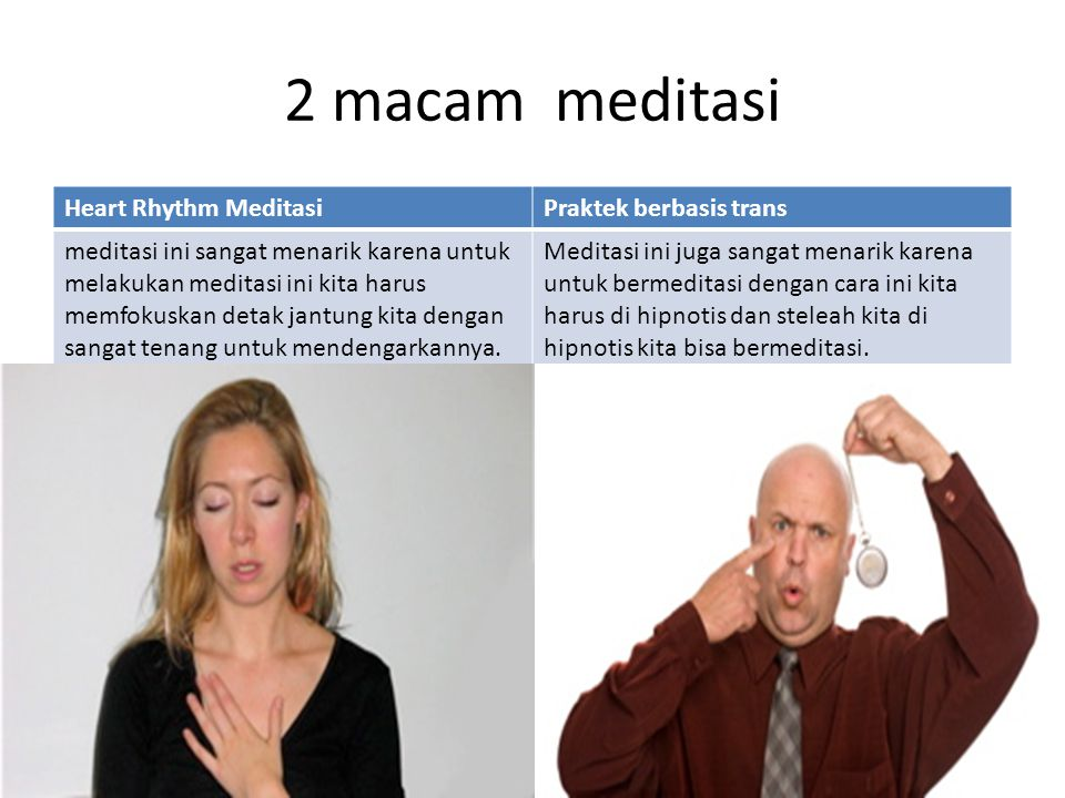 2 macam meditasi Heart Rhythm Meditasi Praktek berbasis trans