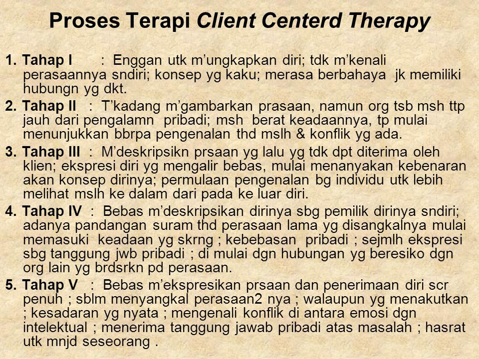 Proses Terapi Client Centerd Therapy
