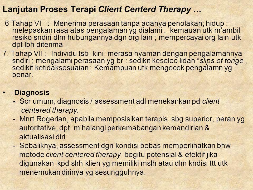 Lanjutan Proses Terapi Client Centerd Therapy …