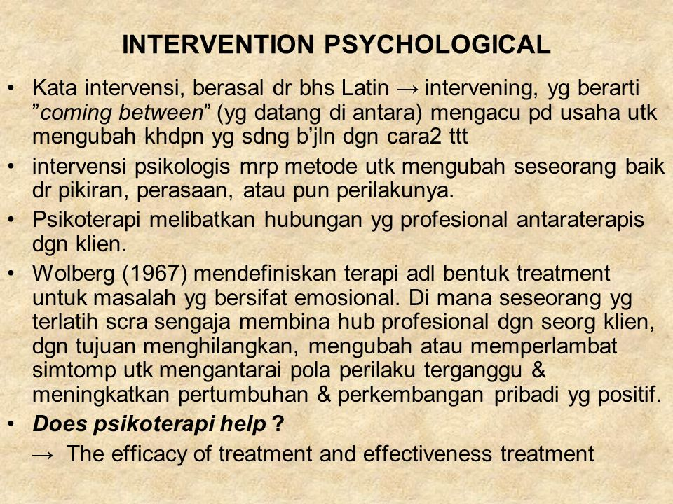 INTERVENTION PSYCHOLOGICAL