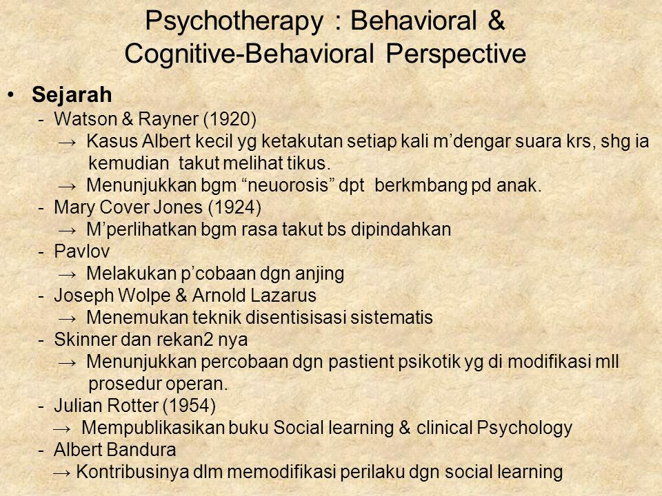 Psychotherapy : Behavioral & Cognitive-Behavioral Perspective