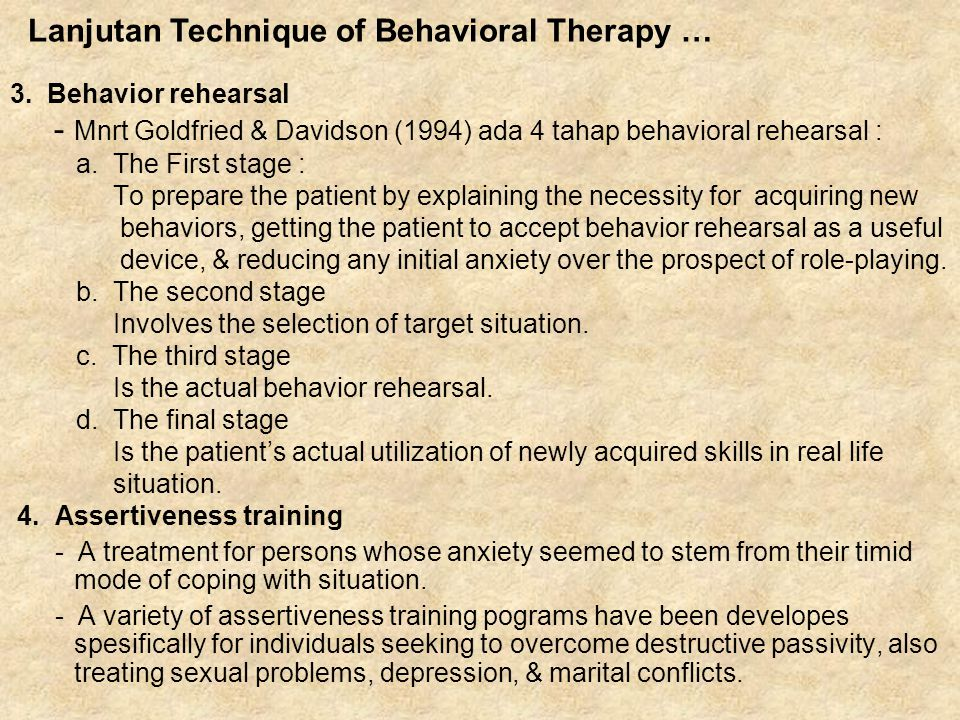 Lanjutan Technique of Behavioral Therapy …