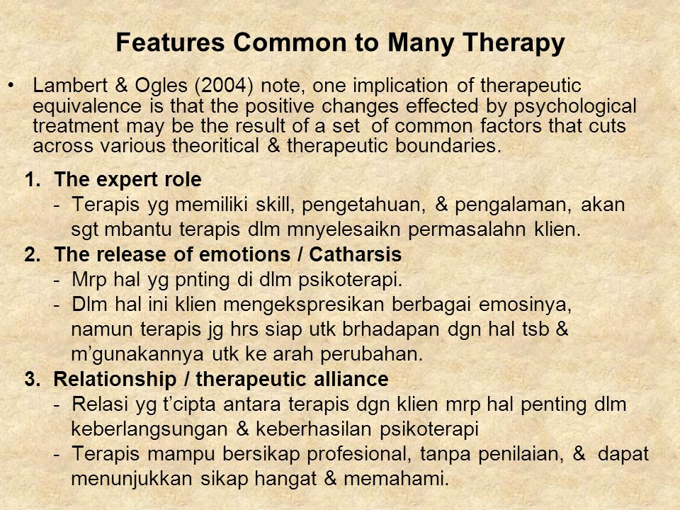 Features Common to Many Therapy