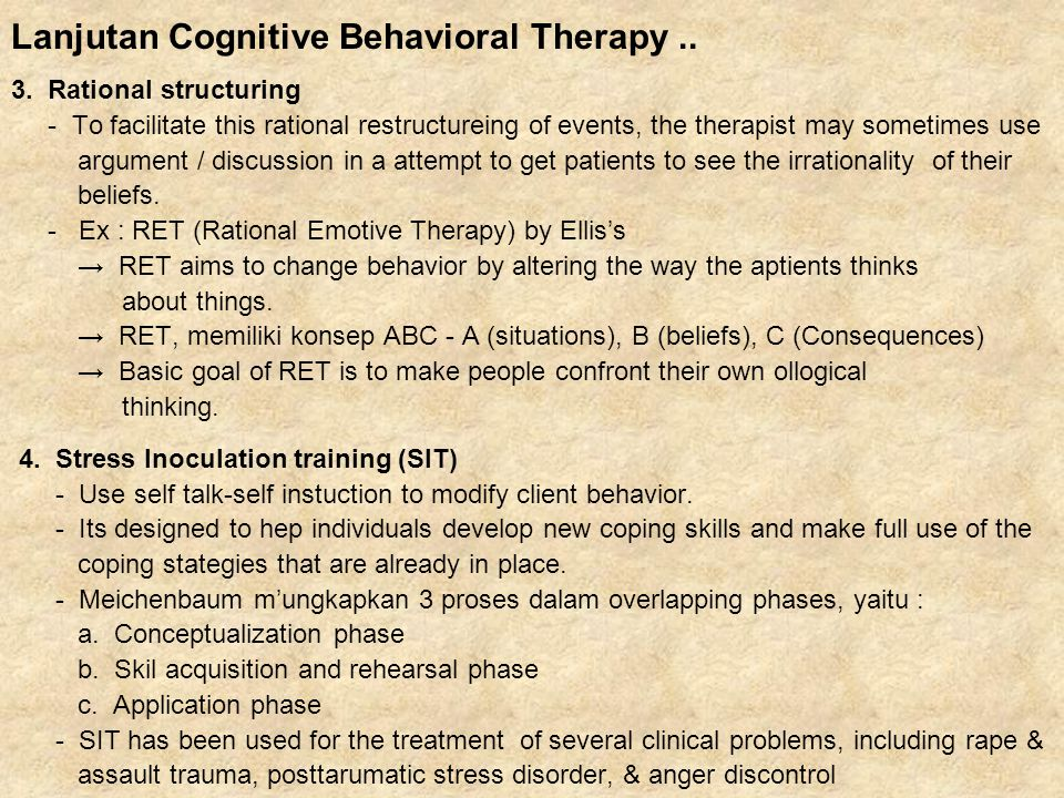 Lanjutan Cognitive Behavioral Therapy ..