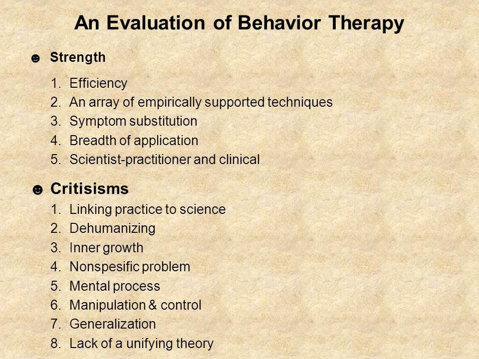 An Evaluation of Behavior Therapy
