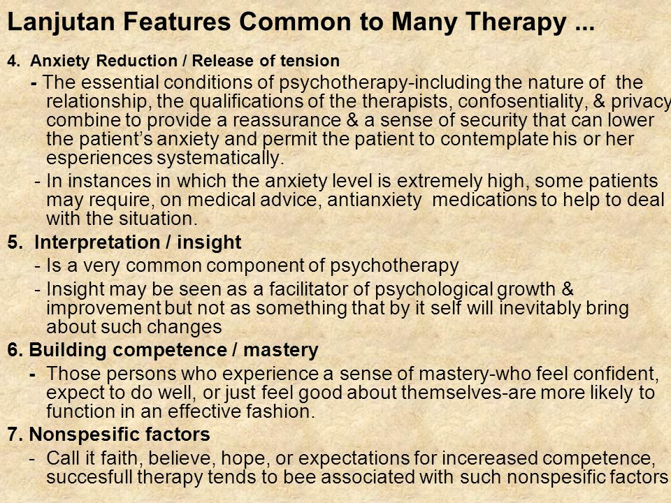 Lanjutan Features Common to Many Therapy ...