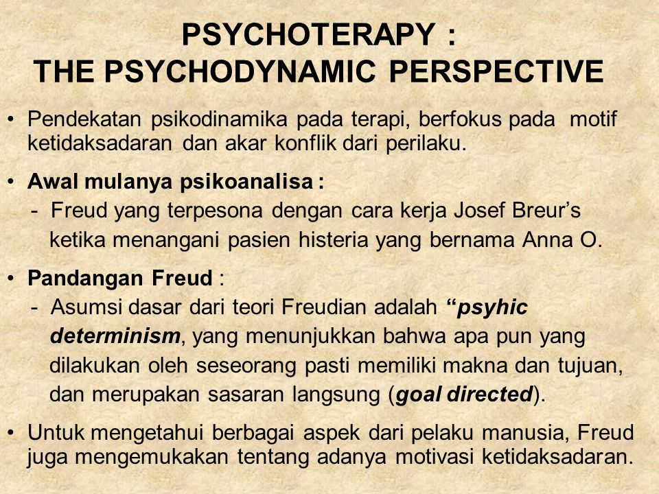 PSYCHOTERAPY : THE PSYCHODYNAMIC PERSPECTIVE