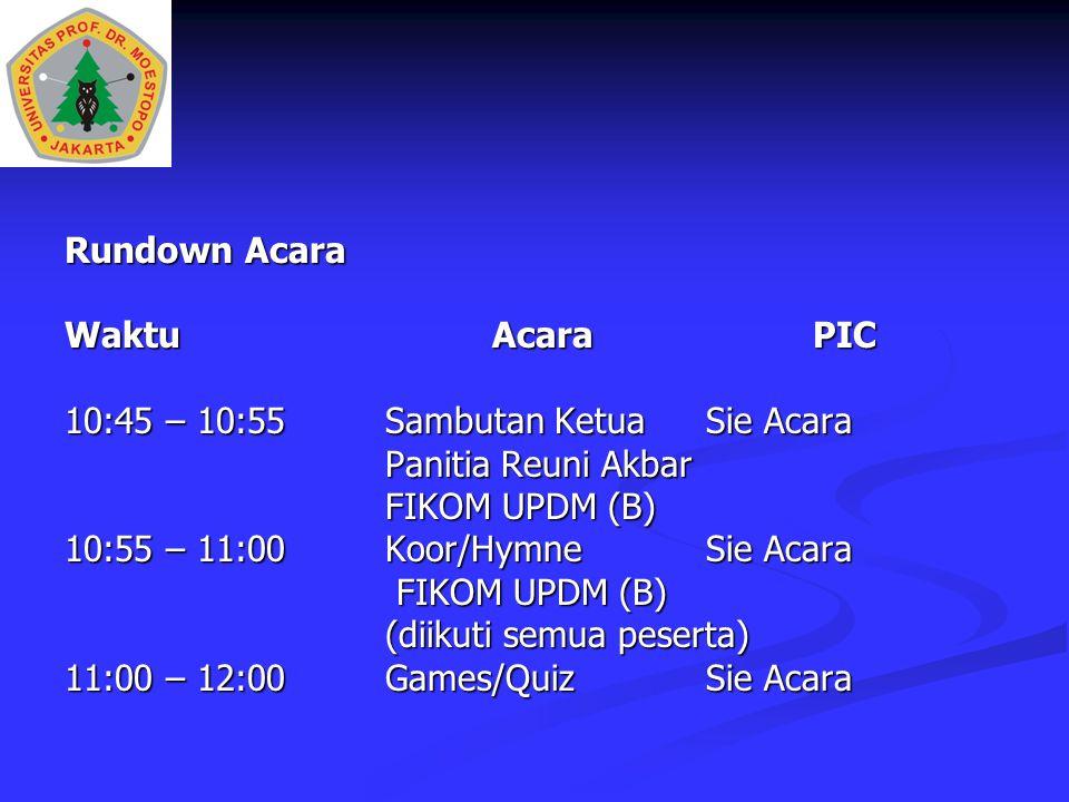 Rundown Acara Waktu Acara PIC. 10:45 – 10:55 Sambutan Ketua Sie Acara. Panitia Reuni Akbar. FIKOM UPDM (B)