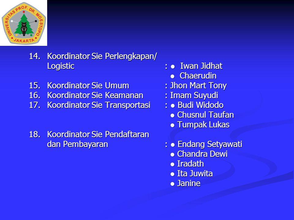 Logistic : ● Iwan Jidhat ● Chaerudin