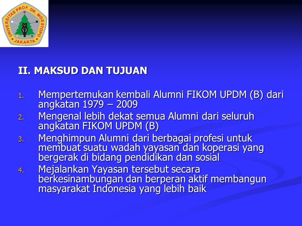 II. MAKSUD DAN TUJUAN Mempertemukan kembali Alumni FIKOM UPDM (B) dari angkatan 1979 – 2009.