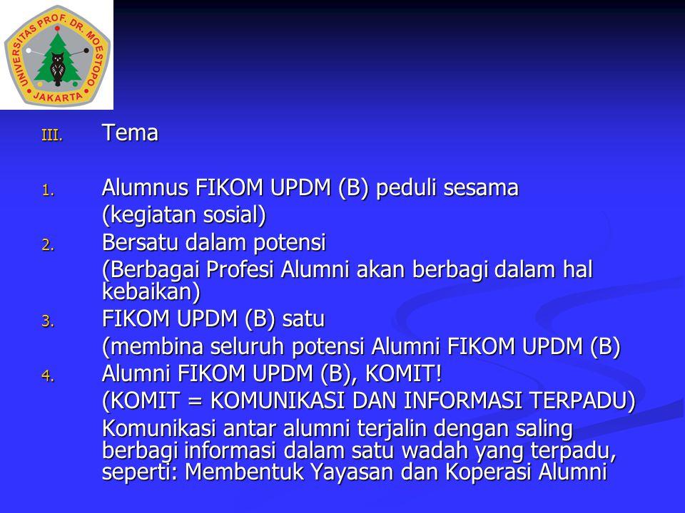 Tema Alumnus FIKOM UPDM (B) peduli sesama. (kegiatan sosial) Bersatu dalam potensi. (Berbagai Profesi Alumni akan berbagi dalam hal kebaikan)