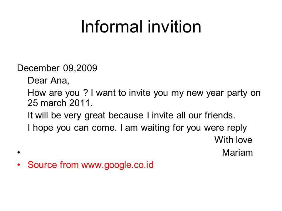 Informal invition December 09,2009 Dear Ana,