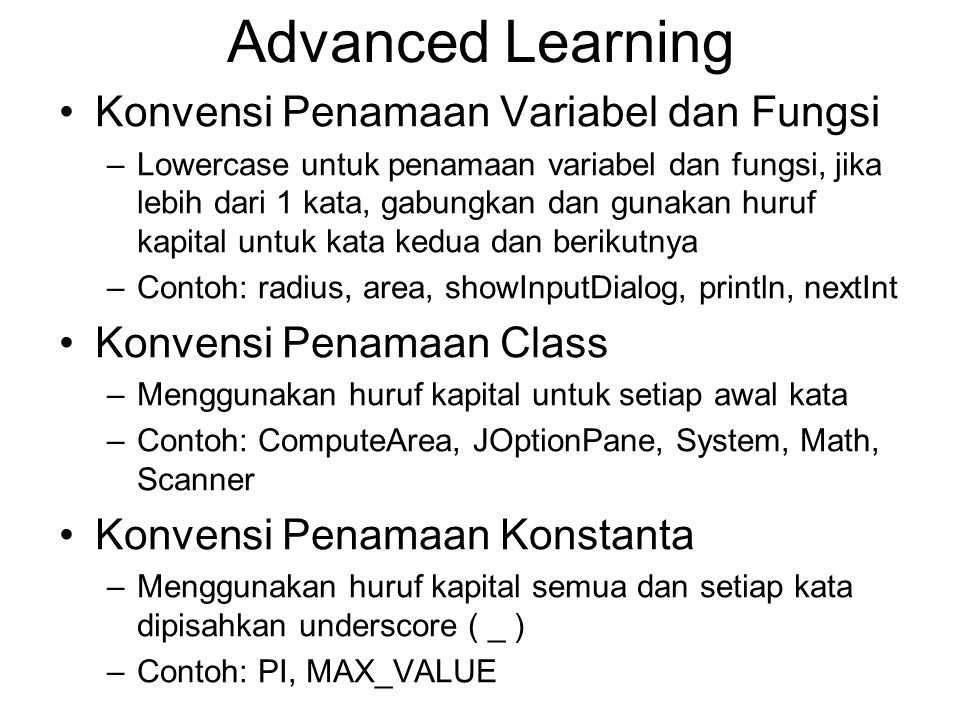 Advanced Learning Konvensi Penamaan Variabel dan Fungsi