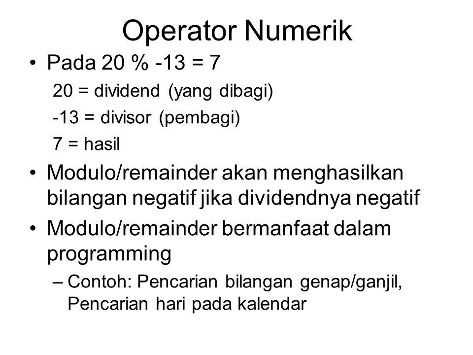 Operator Numerik Pada 20 % -13 = 7