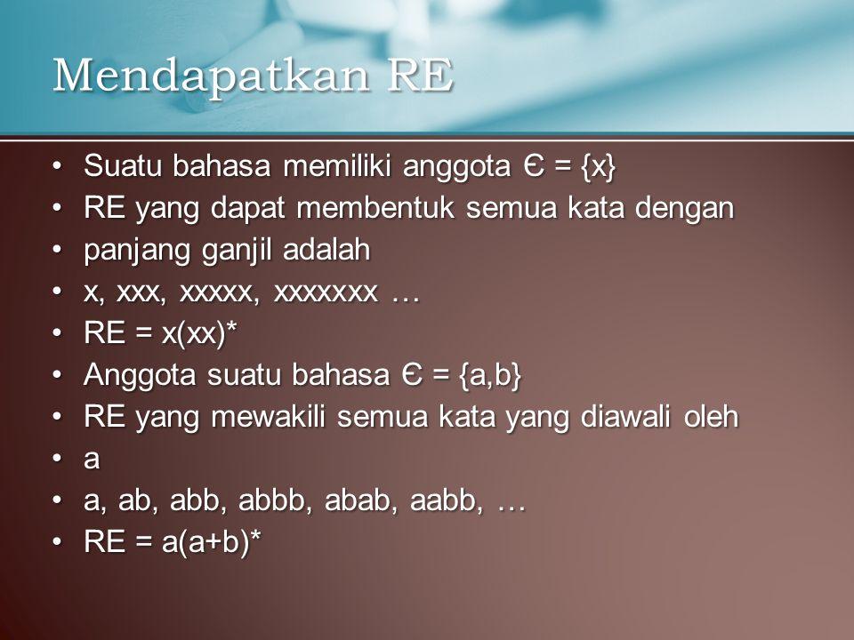 Mendapatkan RE Suatu bahasa memiliki anggota Є = {x}