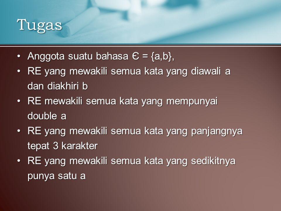 Tugas Anggota suatu bahasa Є = {a,b},