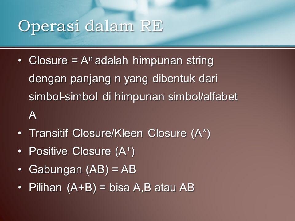 Operasi dalam RE Closure = An adalah himpunan string