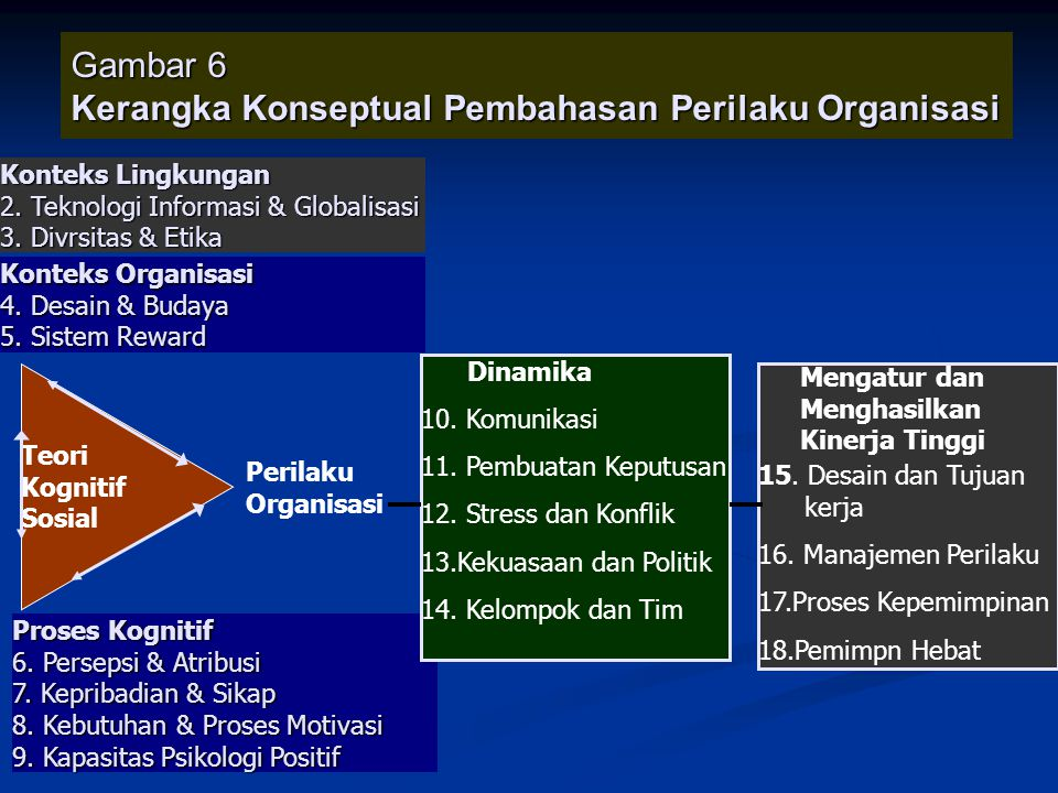 Gambar 6 Kerangka Konseptual Pembahasan Perilaku Organisasi