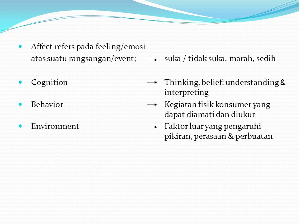 Affect refers pada feeling/emosi