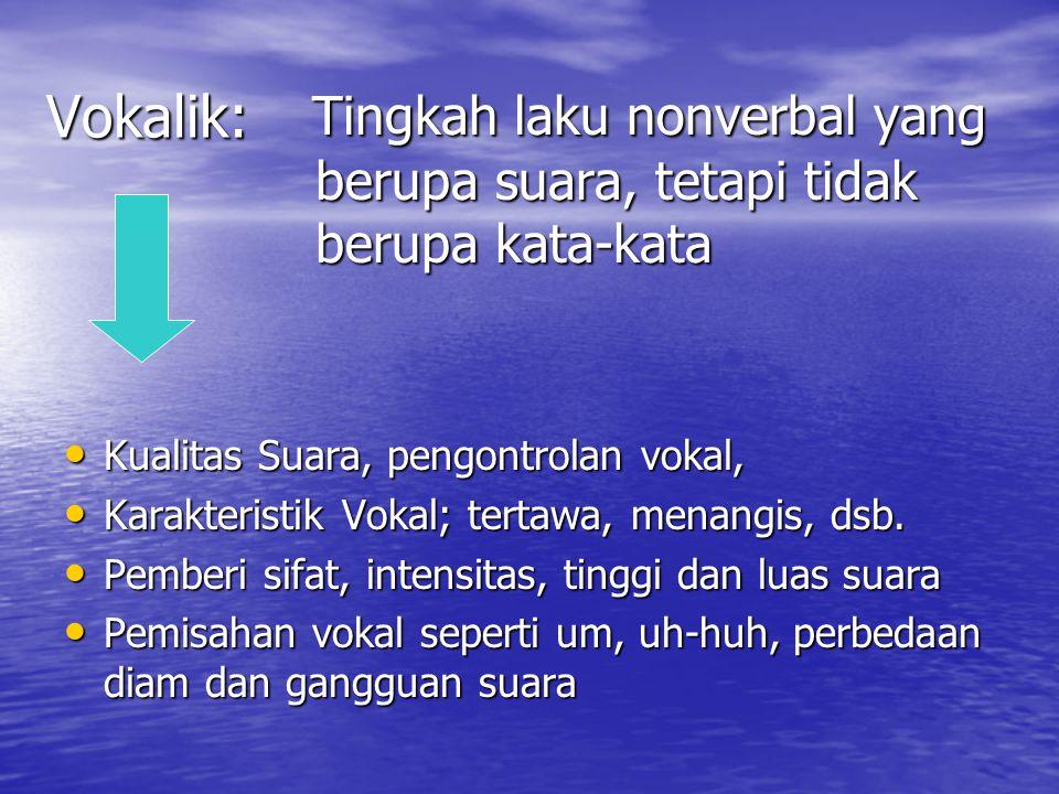 Vokalik: Tingkah laku nonverbal yang berupa suara, tetapi tidak berupa kata-kata. Kualitas Suara, pengontrolan vokal,