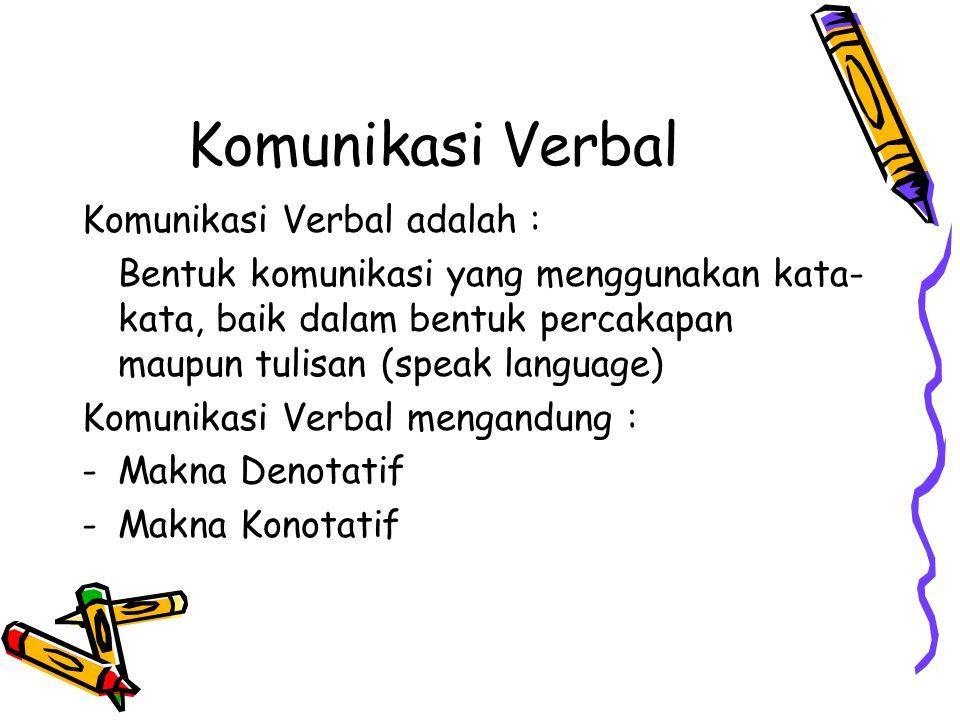 Komunikasi Verbal Komunikasi Verbal adalah :