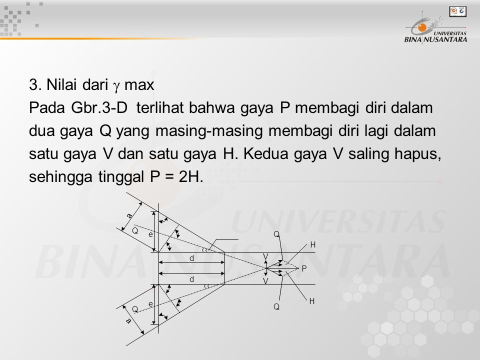 Pada Gbr.3-D terlihat bahwa gaya P membagi diri dalam