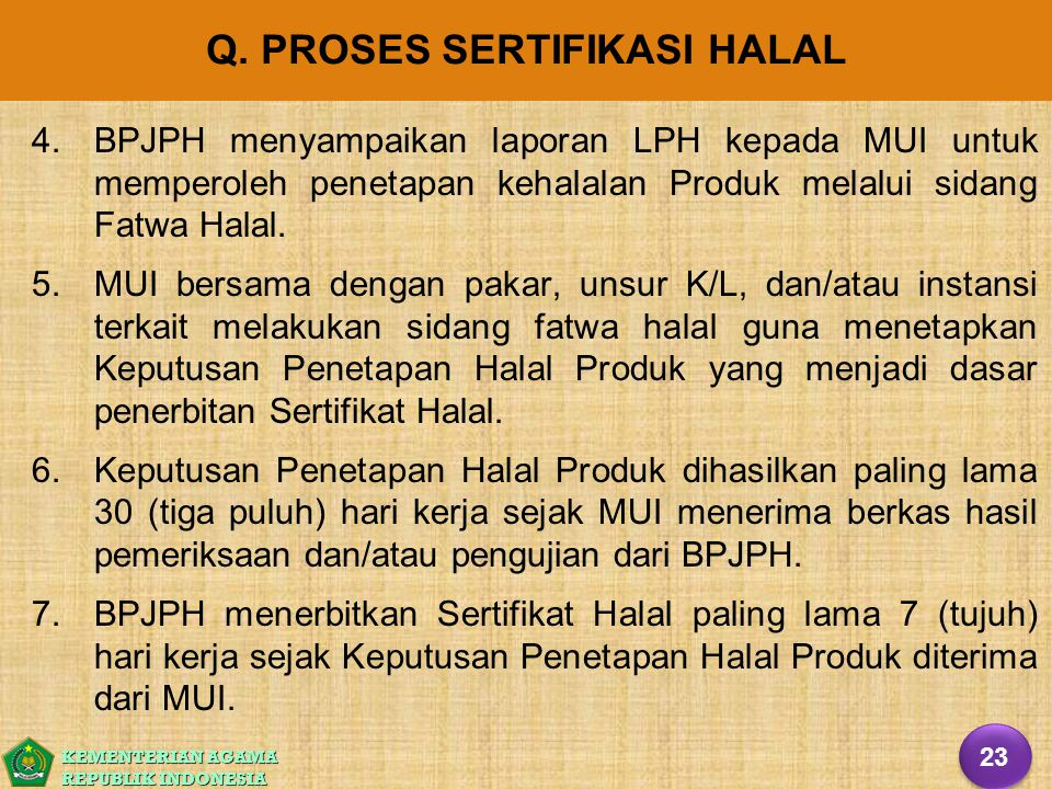 Q. PROSES SERTIFIKASI HALAL