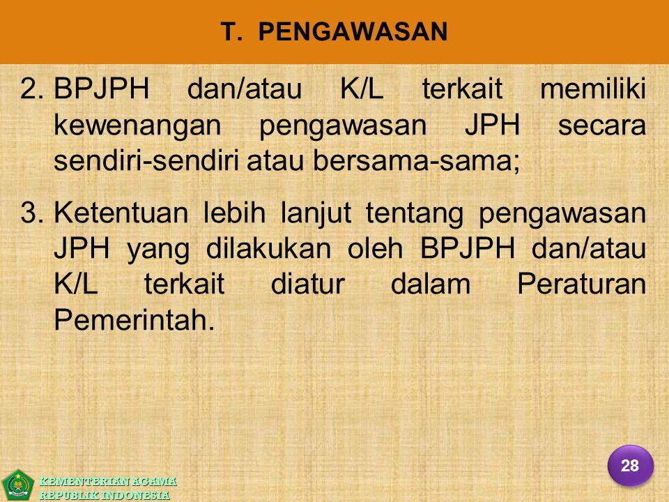 T. PENGAWASAN BPJPH dan/atau K/L terkait memiliki kewenangan pengawasan JPH secara sendiri-sendiri atau bersama-sama;
