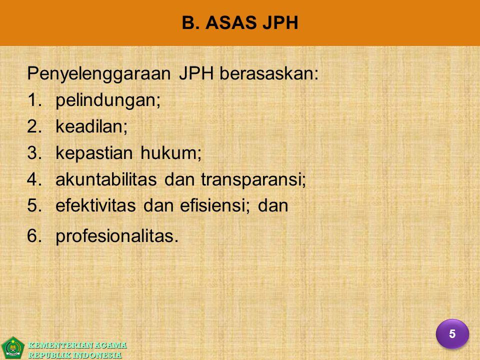 Penyelenggaraan JPH berasaskan: pelindungan; keadilan;