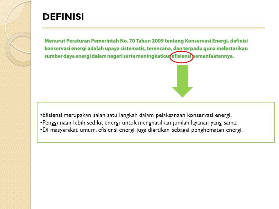 DEFINISI Efisiensi merupakan salah satu langkah dalam pelaksanaan konservasi energi.