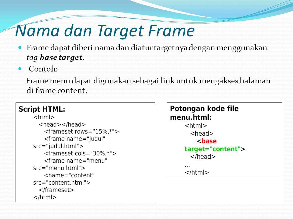 Nama dan Target Frame Frame dapat diberi nama dan diatur targetnya dengan menggunakan tag base target.