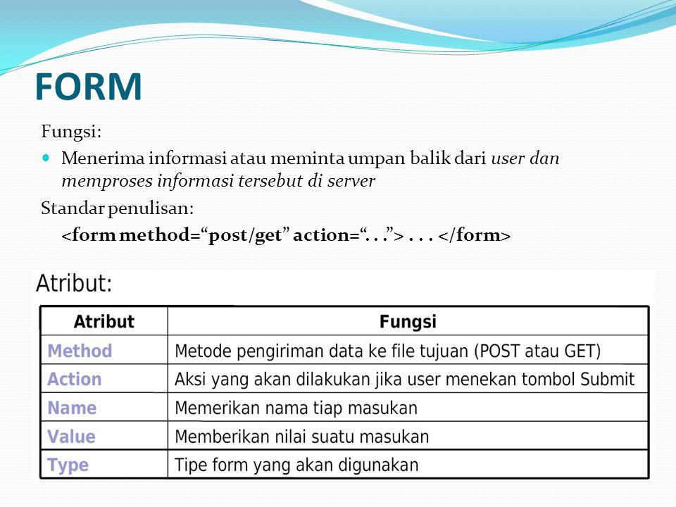 FORM Fungsi: Menerima informasi atau meminta umpan balik dari user dan memproses informasi tersebut di server.