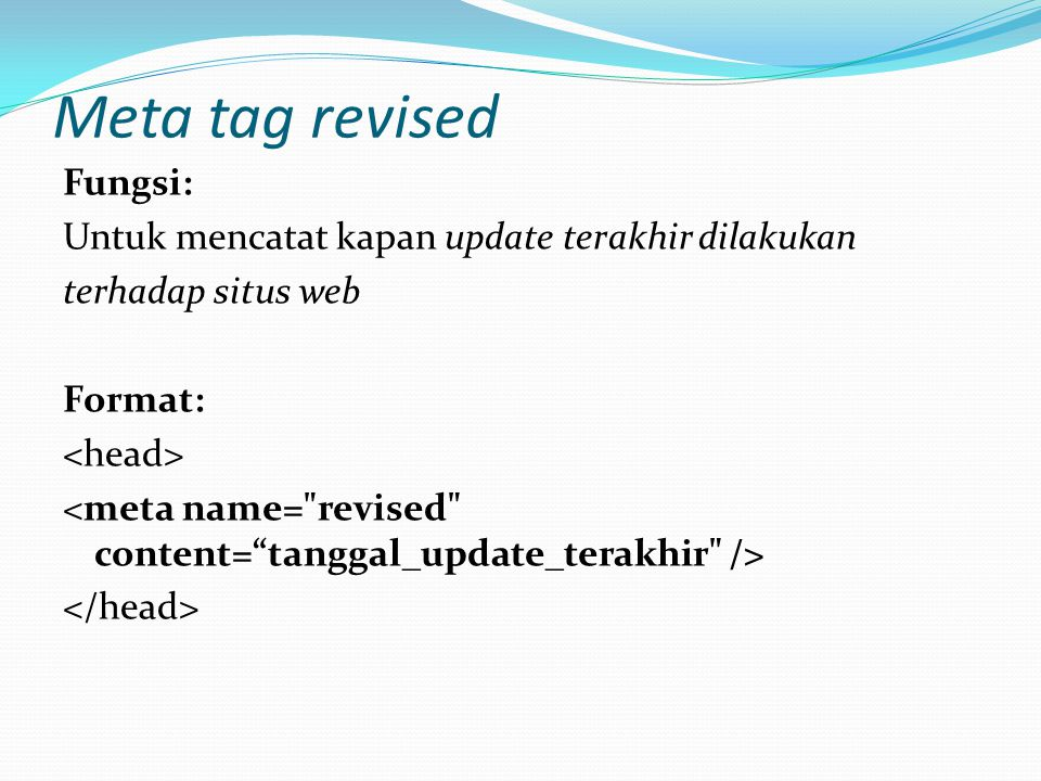 Meta tag revised