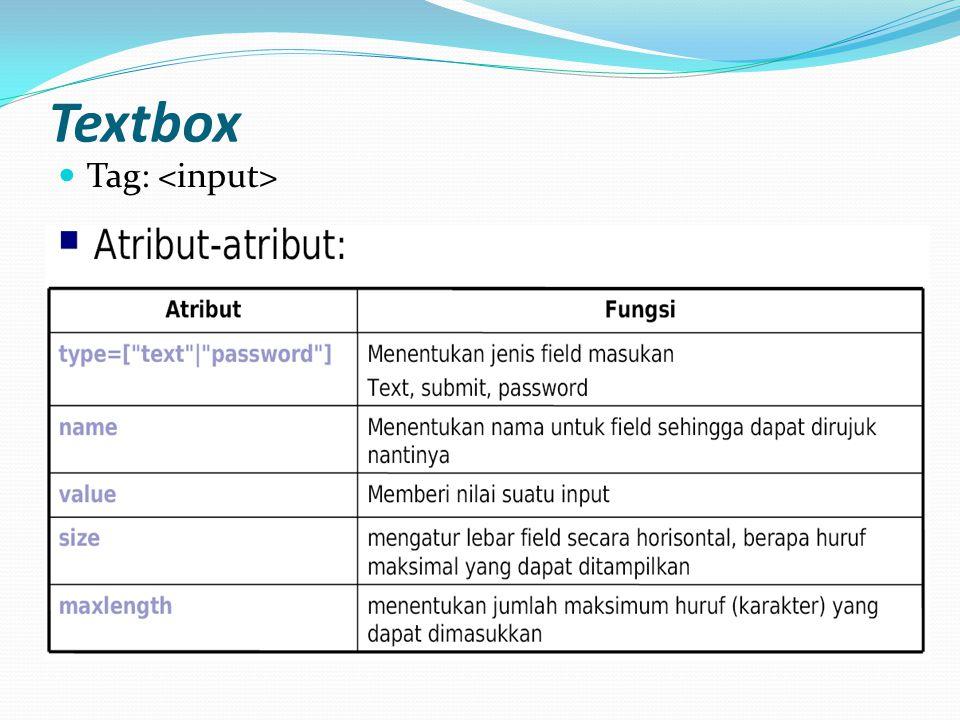 Textbox Tag: <input>