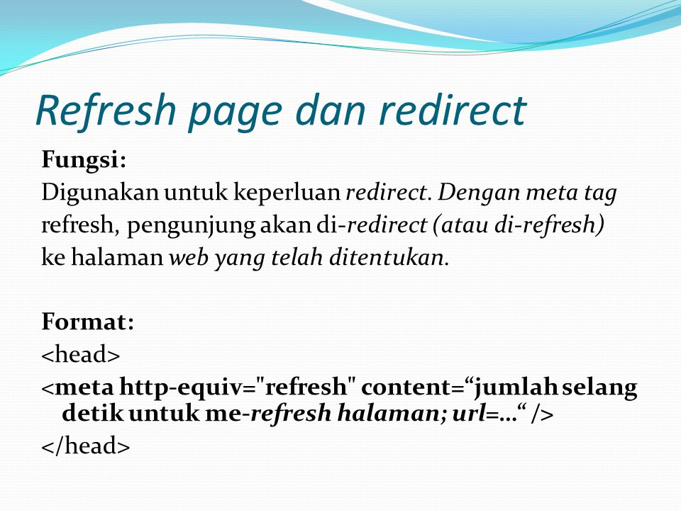 Refresh page dan redirect