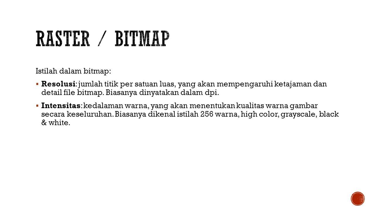 Raster / Bitmap Istilah dalam bitmap: