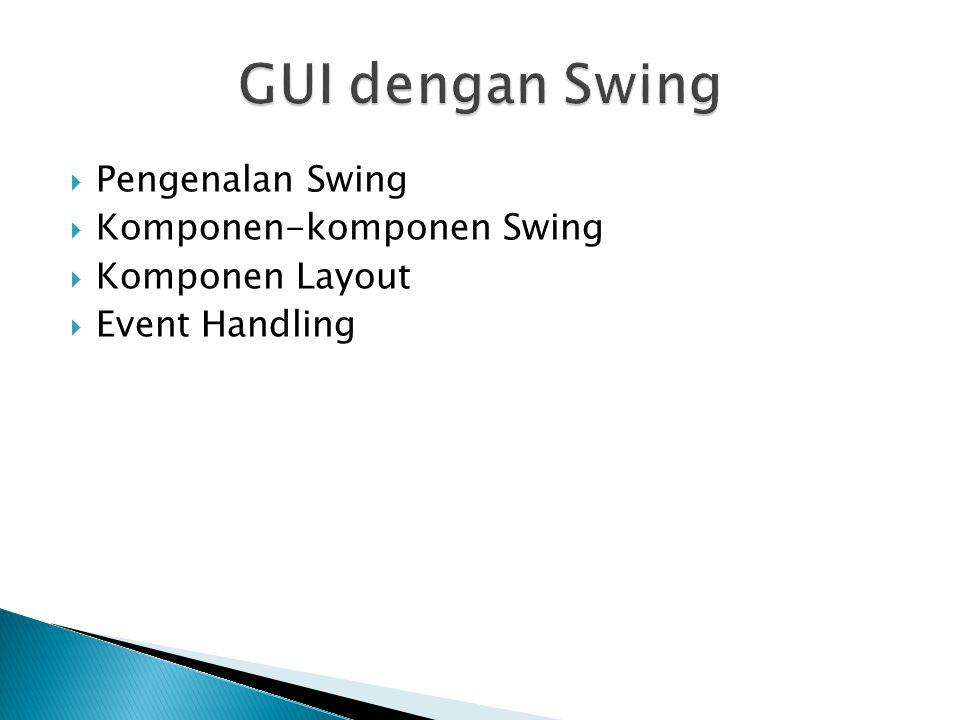 GUI dengan Swing Pengenalan Swing Komponen-komponen Swing