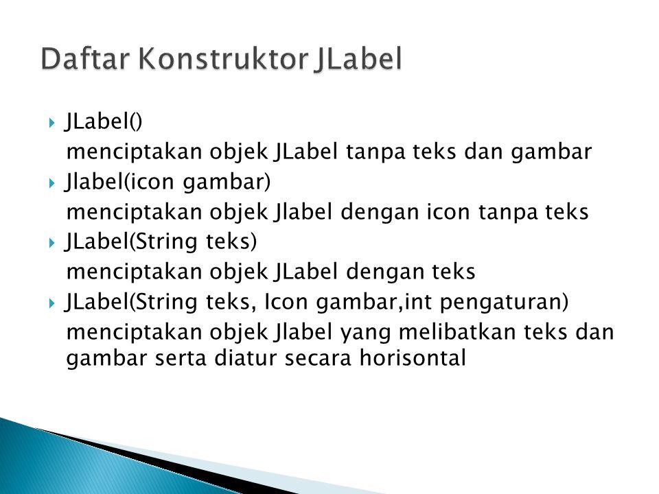 Daftar Konstruktor JLabel