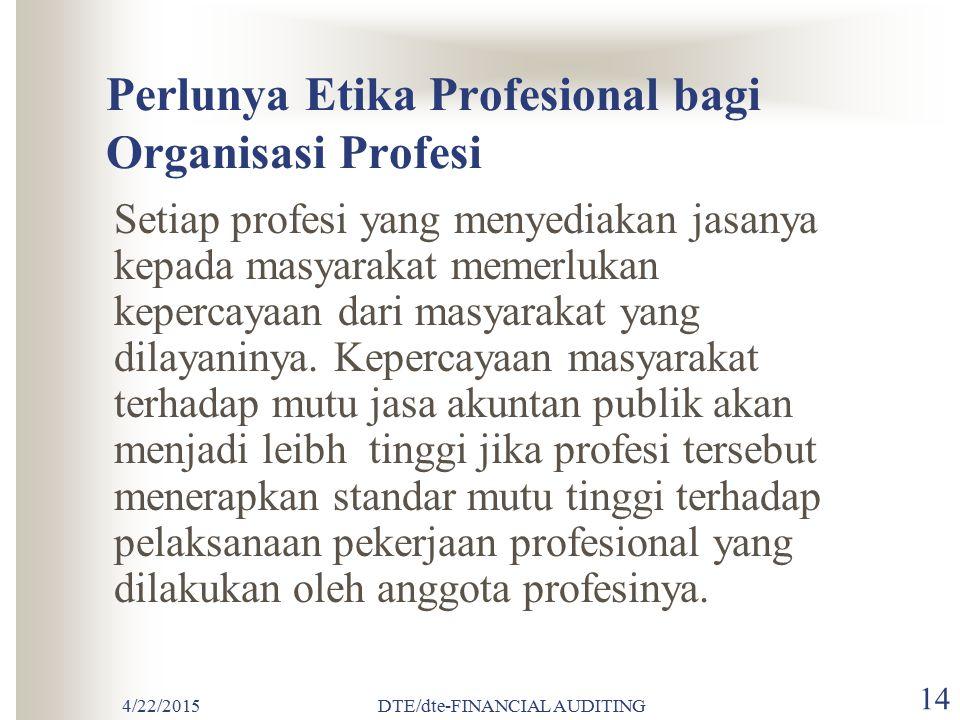 Perlunya Etika Profesional bagi Organisasi Profesi