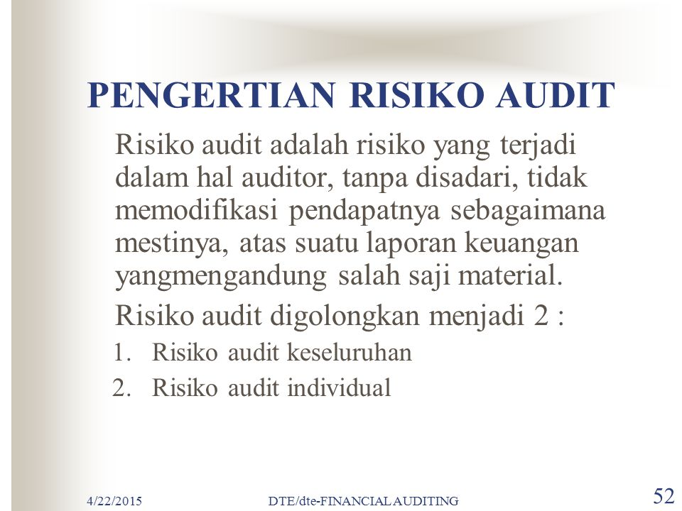 PENGERTIAN RISIKO AUDIT