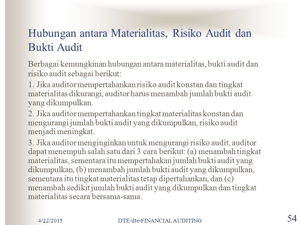 Hubungan antara Materialitas, Risiko Audit dan Bukti Audit