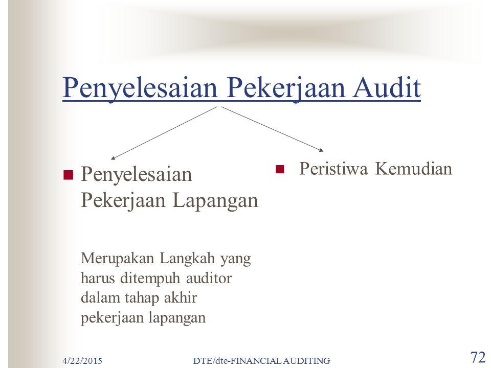 Penyelesaian Pekerjaan Audit