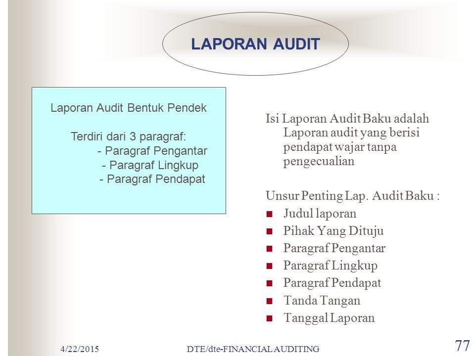 LAPORAN AUDIT Laporan Audit Bentuk Pendek. Terdiri dari 3 paragraf: - Paragraf Pengantar. - Paragraf Lingkup.