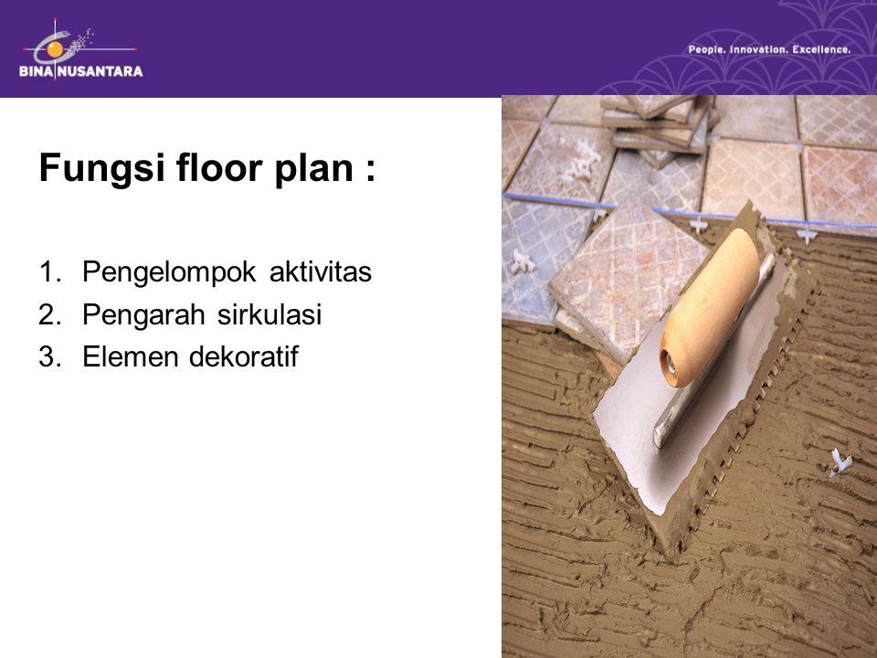 Fungsi floor plan : Pengelompok aktivitas Pengarah sirkulasi