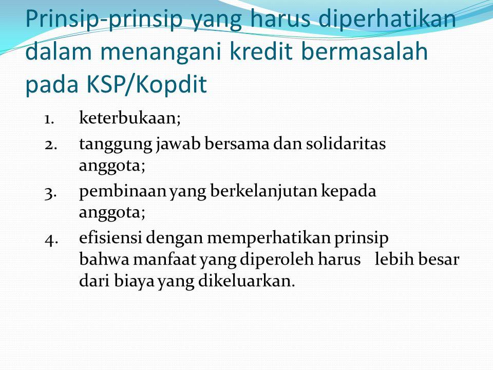 Prinsip-prinsip yang harus diperhatikan dalam menangani kredit bermasalah pada KSP/Kopdit