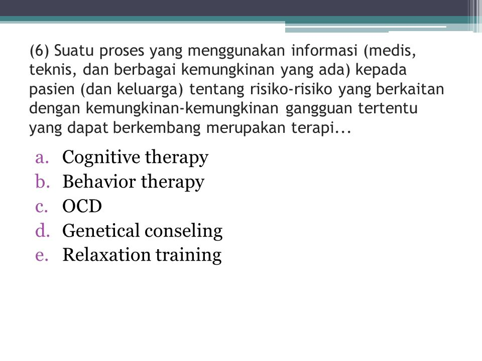 Cognitive therapy Behavior therapy OCD Genetical conseling
