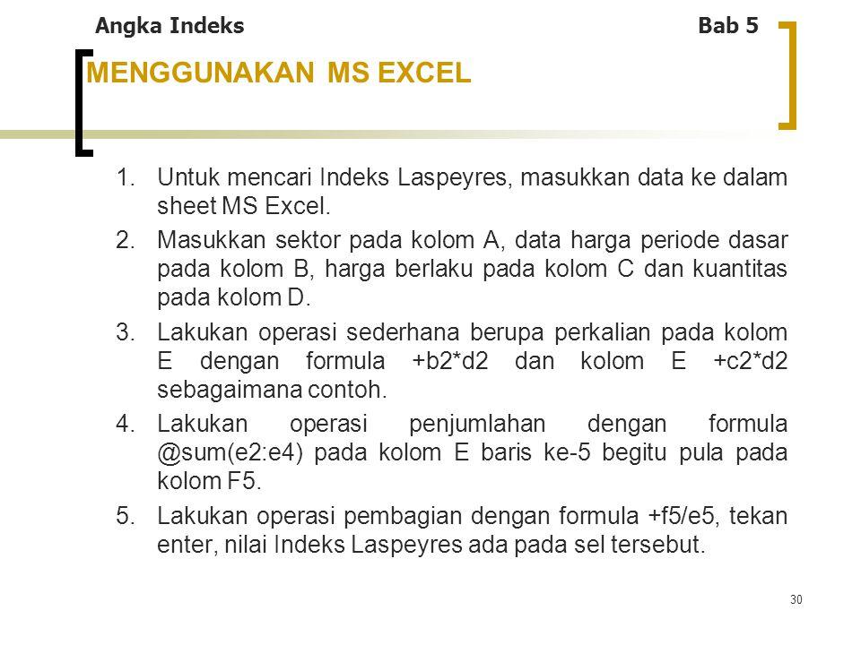 Angka Indeks Bab 5 MENGGUNAKAN MS EXCEL. 1. Untuk mencari Indeks Laspeyres, masukkan data ke dalam sheet MS Excel.