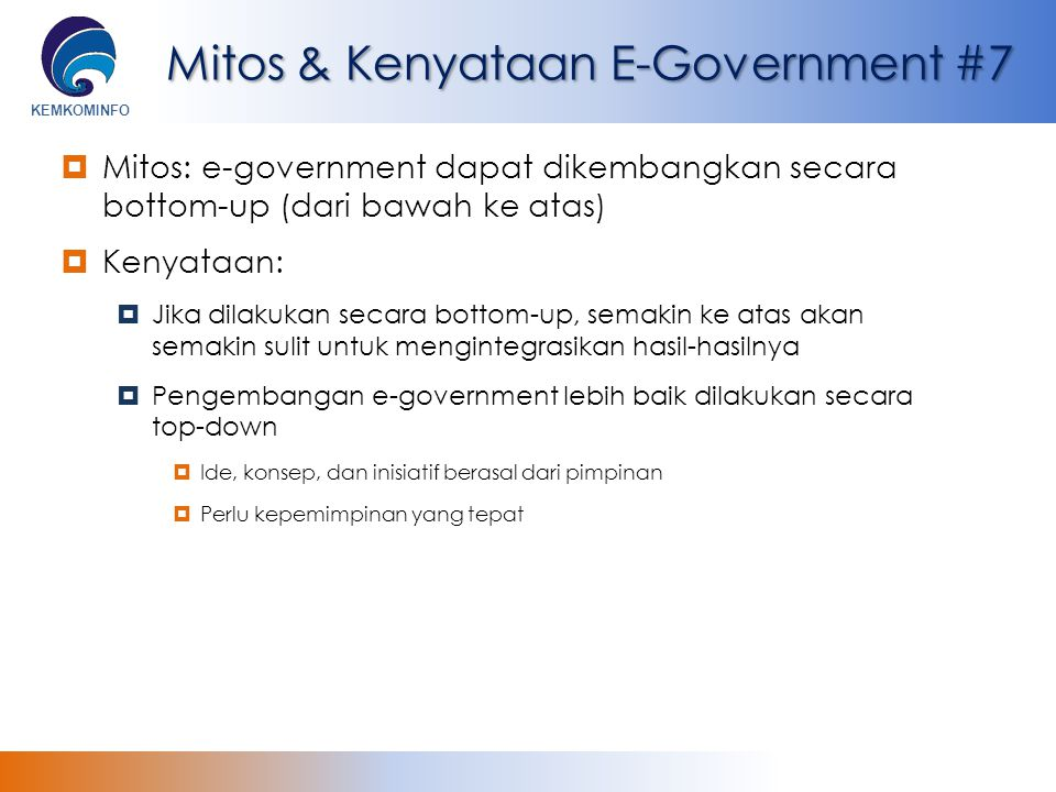 Mitos & Kenyataan E-Government #7