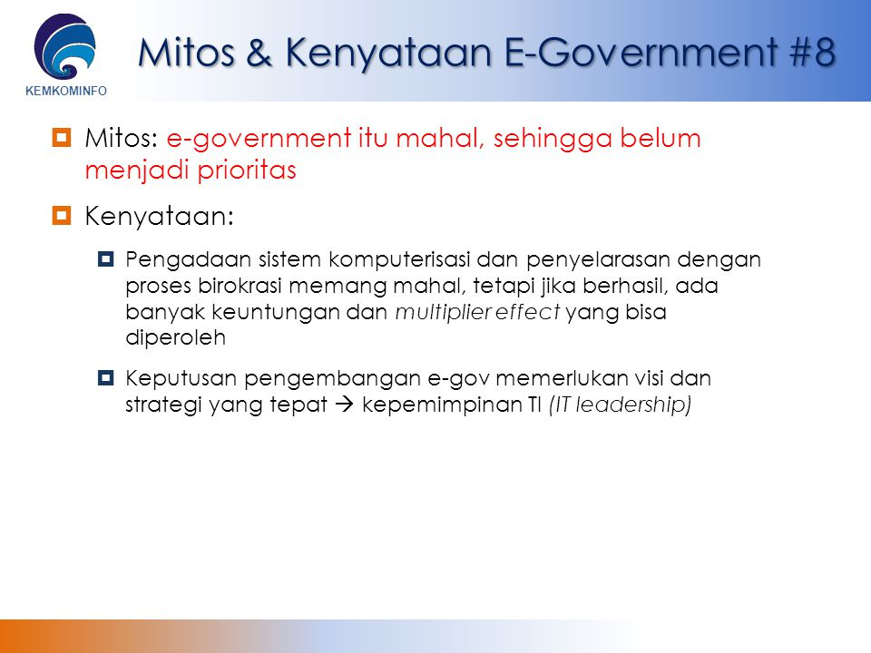 Mitos & Kenyataan E-Government #8