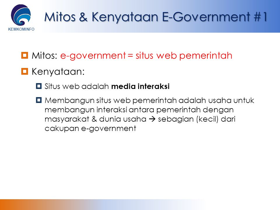 Mitos & Kenyataan E-Government #1